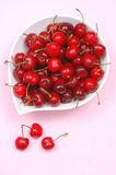 White plate with cherries Stock Photography