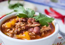 Plate with Chili Con Carne, close-up royalty free stock images