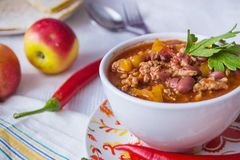 White Plate with Chili Con Carne stock photography