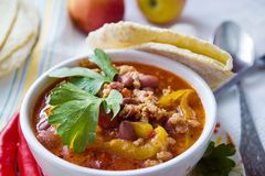 White Plate with Chili Con Carne royalty free stock image