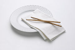 White Plate with Chopsticks Stock Image