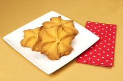 White plate with cookies in the shape of a star Stock Photo