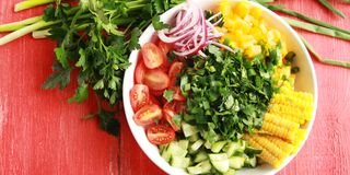 White plate with cut vegetables for a vegan salad. Stock Image