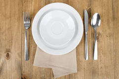 White plate with cutlery Stock Photography