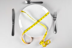 White Plate and Diet. With nutrition and hunger Stock Images