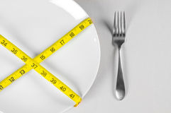White Plate and Diet. With nutrition and hunger Royalty Free Stock Photo
