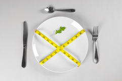 White Plate and Diet. With nutrition and hunger Royalty Free Stock Images