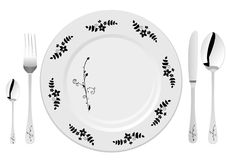 White plate with drawing Stock Photography