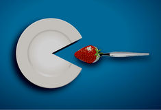 White plate eat strawberry with spoon Royalty Free Stock Photos