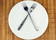 White plate, fork crosswise Stock Photography