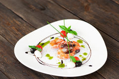 White plate with fried shrimps on wood, copyspace. Food Seafood Restaurant Menu Mediterranean Decor Advertising Service Cuisine Gourmet Concept Stock Images