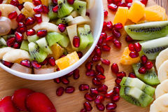 White plate with fruit salad Stock Photos