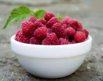 White plate full of fresh berries ripe raspberry is on the floor Stock Images