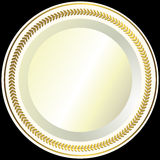 White plate with a gold vintage ornament. On black background royalty free illustration