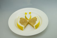 White plate, grapefruit slices, the butterfly shape Stock Image