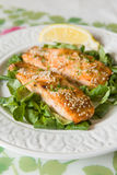 White plate with grilled salmon served with mini spinach and a piece of lemon. Stock Photography