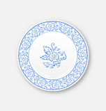 White plate with hand drawn floral ornament bezel Stock Image