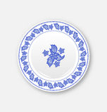 White plate with hand drawn floral ornament bezel Stock Photos