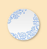 White plate with hand drawn floral ornament, empty ceramic plate Stock Photo