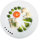 White plate with healthy food: fish and vegetables Stock Images