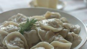 White plate of hot homemade dumplings stock video