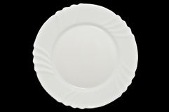 Free White Plate. Isolated On Black Background Royalty Free Stock Photography - 19230197