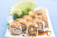 White plate with Japanese food stock photo