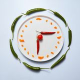 Sliced sweet peppers are laid out on a plate in the form of a clock on a gray background Stock Photo