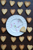 White Plate with Note I Love You and Heart Shaped Cookies around Stock Photo