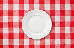 White Plate On Red Checked Tablecloth Stock Image