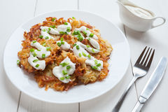 White plate of potato pancakes or latke Stock Photos