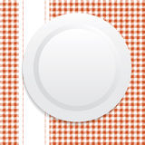 White plate on red tablecloth. Vector illustration on white plate on red tablecloth Stock Image