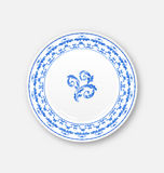 White plate with russian national ornament in gzhel style, empty Stock Images