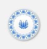 White plate with russian ornament in gzhel style Royalty Free Stock Photography
