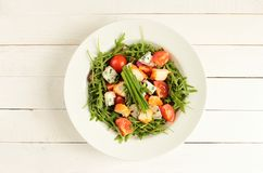 White plate with salad Royalty Free Stock Image
