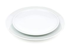 White plate set Stock Photo