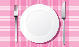White plate set vector Royalty Free Stock Image