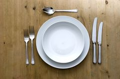 White Plate Setting Royalty Free Stock Images