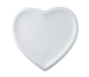 White plate in shape of heart Stock Image