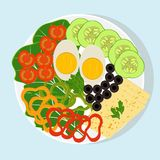 White plate with sliced vegetables, boiled egg and cheese. Tomatoes, cucumbers, peppers, olives, lettuce, greens. Health food, veg Royalty Free Stock Image