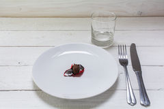 White plate with a small chocolate Easter egg in open red foil,. Empty white plate with a small chocolate Easter egg in open red foil, cutlery and drinking glass Stock Photography