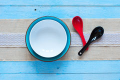 White plate and spoons Stock Photos