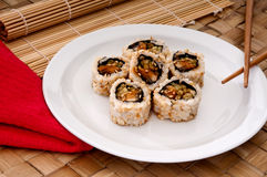 White plate of sushi with a napkin Stock Photography