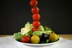 Fresh bright summer salad on a plate with mini tomatoes in a tall vertical line stock photography
