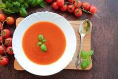White plate with tomato soup Stock Images