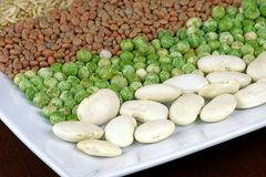 White plate with uncooked grains. Beans, peas, lentils and whole-grain rice Stock Image