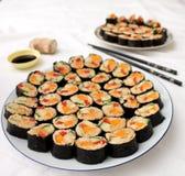 White plate of vegetarian sushi Royalty Free Stock Photos
