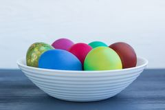 White plate wit Easter versicolored boiled eggs on grey wood royalty free stock photos