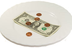 Free White Plate With Dollar And Some Cents Stock Images - 7987614