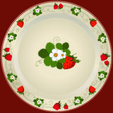White Plate With Strawberry Royalty Free Stock Images
